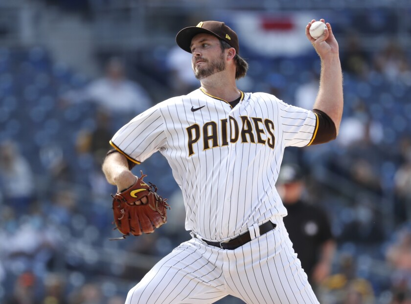 The Padres' Drew Pomeranz pitches against the San Francisco Giants