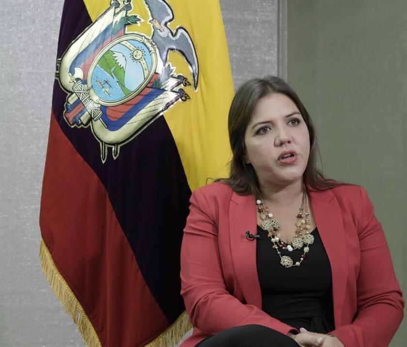 La vicepresidenta de Ecuador, María Alejandra Vicuña, habla durante una entrevista con Efe este, lunes 19 de febrero de 2018, en el Hotel de Estado, en Washington, DC (EE.UU.). EFE