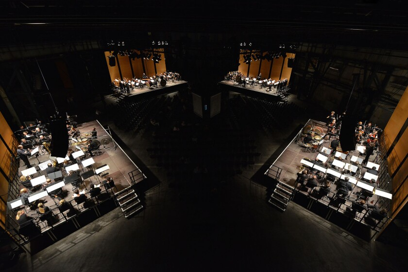 "A rare performance of Stockhausen's ""Carré"" at the 2016 Ruhrtriennale festival at Jahrhunderthalle in Bochum, Germany."