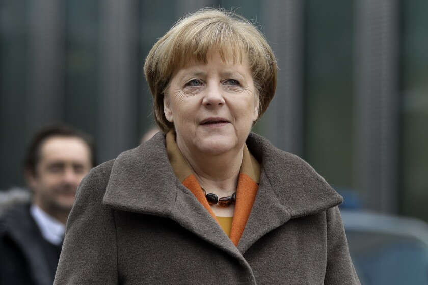 German chancellor and head of the German Christian Democrats, Angela Merkel, arrives for a party meeting in Munich, Germany, Monday, Feb. 6, 2017.