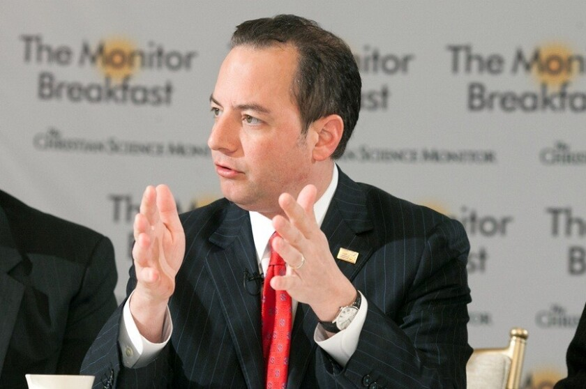 Republican National Committee Chairman Reince Priebus speaks at a breakfast with reporters hosted by the Christian Science Monitor in Washington on Tuesday.