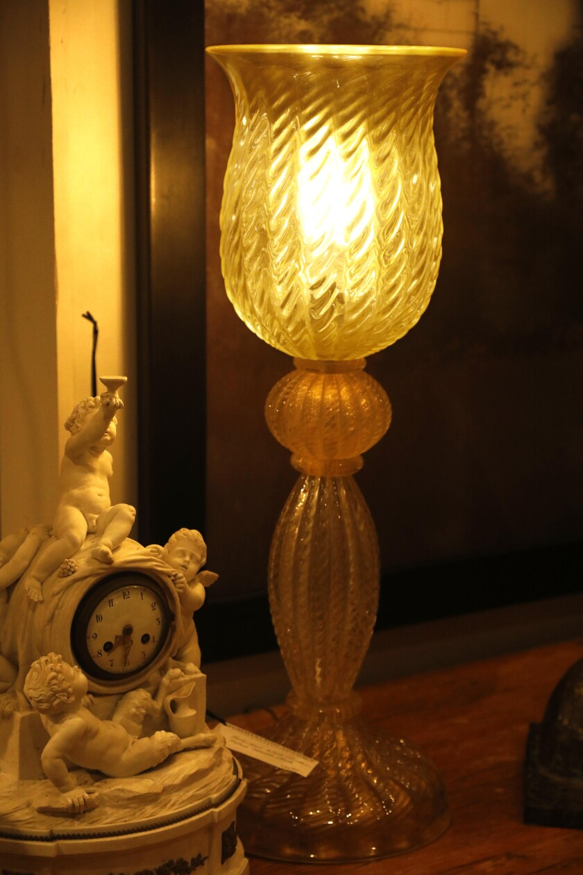 A 1930s Murano glass lamp at Summerland Antique Collective.