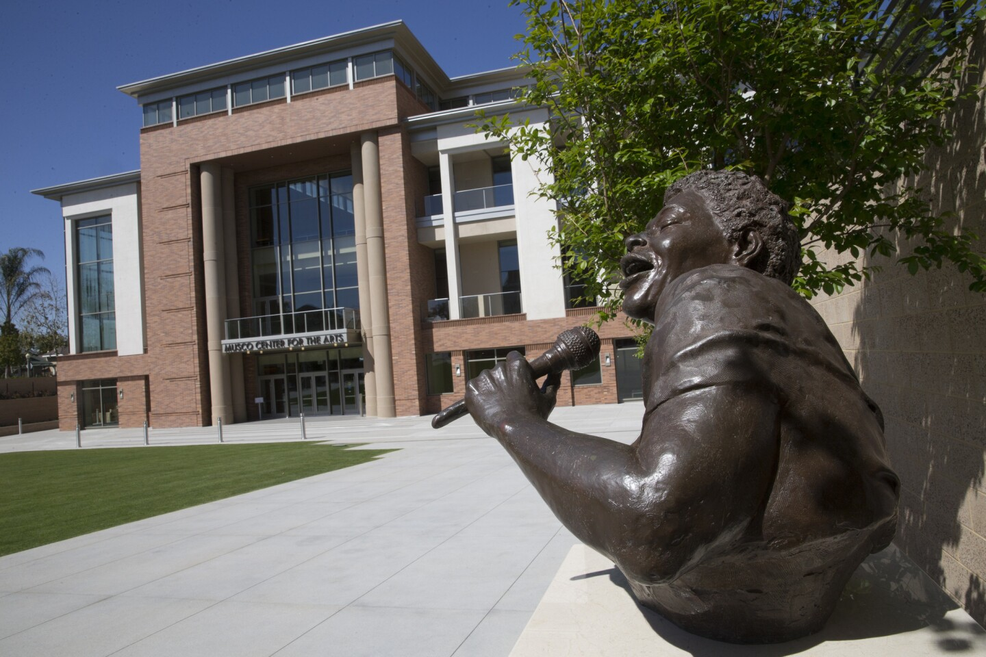 The Marybelle and Sebastian P. Musco Center for the Arts at Chapman University will serve primarily as a performing venue for the school's students, though it also will host visiting performers and ensembles. A bust of Ella Fitzgerald stands in the courtyard. A bust of Ella Fitzgerald sits outside the front of the Musco Center for the Arts at Chapman University in Orange, Calif.