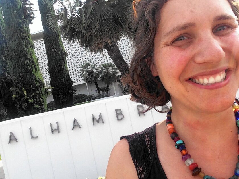 Selfie of Daniela Gerson, taken outside Alhambra City Hall.