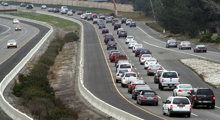 The afternoon eastbound traffic on State Route 56 at Carmel Country Road is one of the worst traffic bottlenecks in the county.