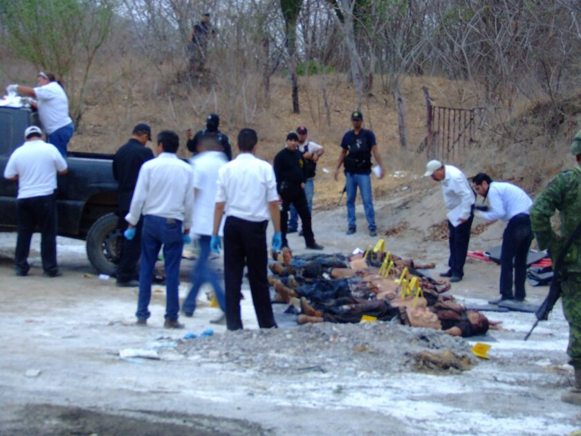 Mexican officials inspect the area where the bodies of 14 people were found in June in Sinaloa state, Mexico.