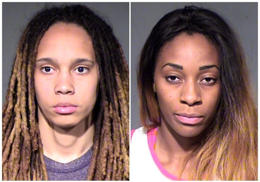 Booking photos of WNBA players Brittney Griner, left, and her fiancee, Glory Johnson, after they were arrested Wednesday on suspicion of assault and disorderly conduct.