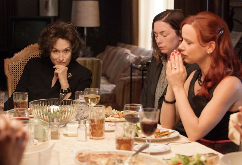 "This image released by The Weinstein Company  shows, from left, Meryl Streep, Julianne Nicholson and Juliette Lewis in a scene from ""August: Osage County.""  (AP Photo/The Weinstein Company, Claire Folger)"