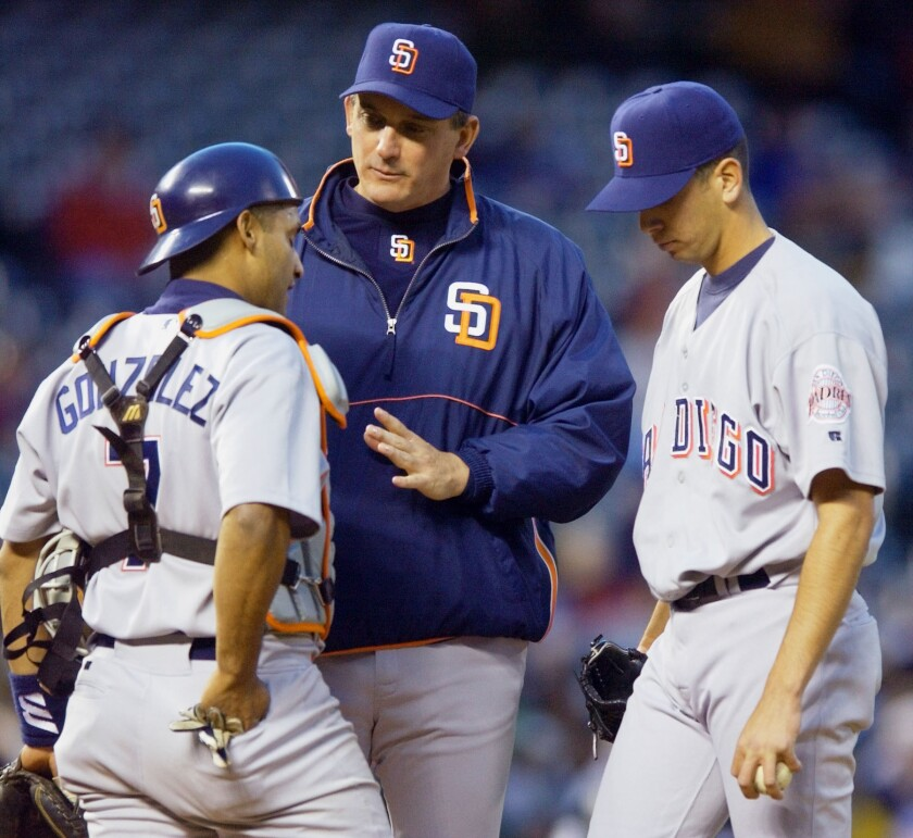 San Diego Padres pitching coach Greg Booker, center, confers with catcher Wiki Gonzalez, left, and starting pitcher Oliver Perez at Coors Field in Denver in 2003.