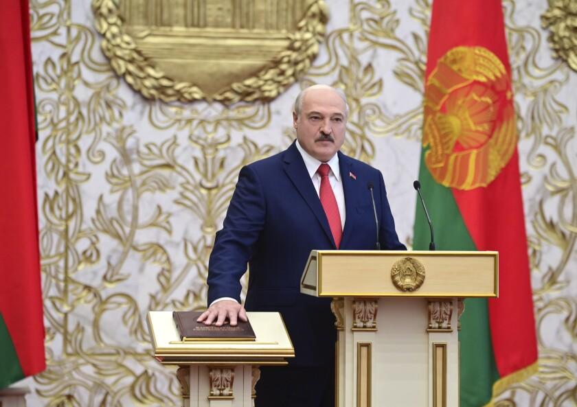 Belarusian President Alexander Lukashenko takes the oath of office Wednesday.