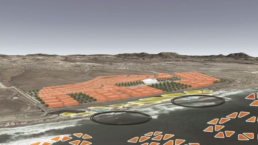 This graphic of Rosarito beaches illustrates how sea level rise might be mitigated by anchored break