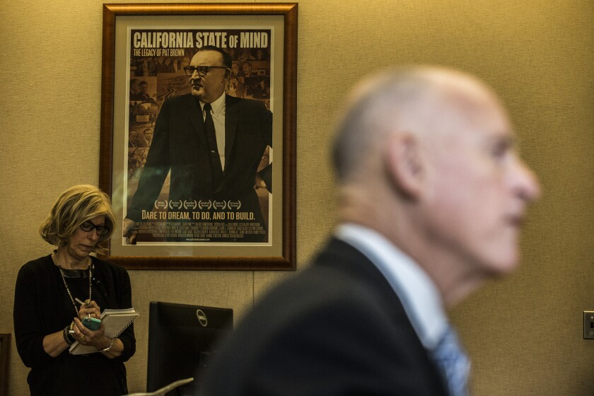 Top aide Nancy McFadden, background, discussed Gov. Jerry Brown's upcoming priorities while speaking at an event hosted by the Public Policy Institute of California.