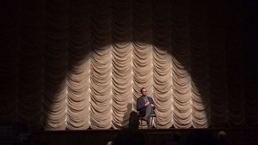 """Edgar Arceneaux takes questions from the audience after a screening of """"Until, Until, Until..."""" at the Bing Theater at LACMA."""