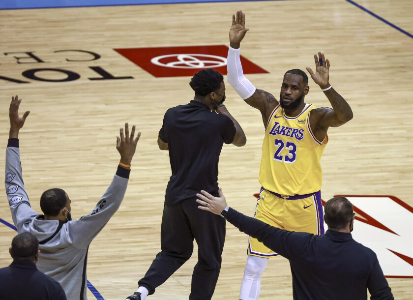 The Lakers' LeBron James reacts after a play against the Rockets on Jan. 21, 2021, in Houston.