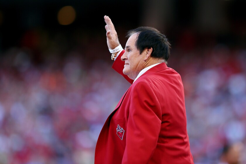 Cincinnati legend Pete Rose takes the field at the Great American Ball Park before the start of the 86th MLB All-Star Game on Tuesday.