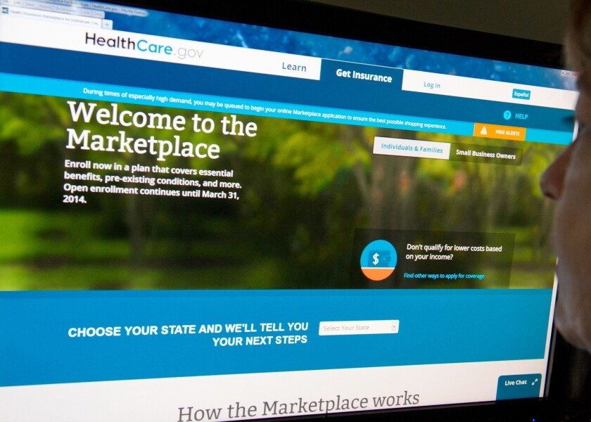 The homepage of the federal HealthCare.gov online insurance exchange.