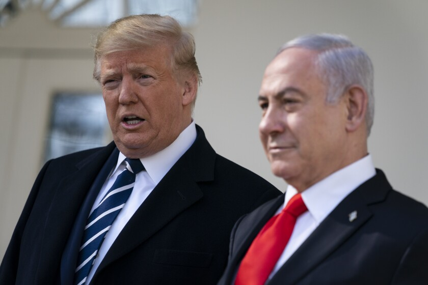 President Trump and Israeli Prime Minister Benjamin Netanyahu field media questions at the White House on Jan. 27. Netanyahu was visiting ahead of Trump's peace plan announcement.