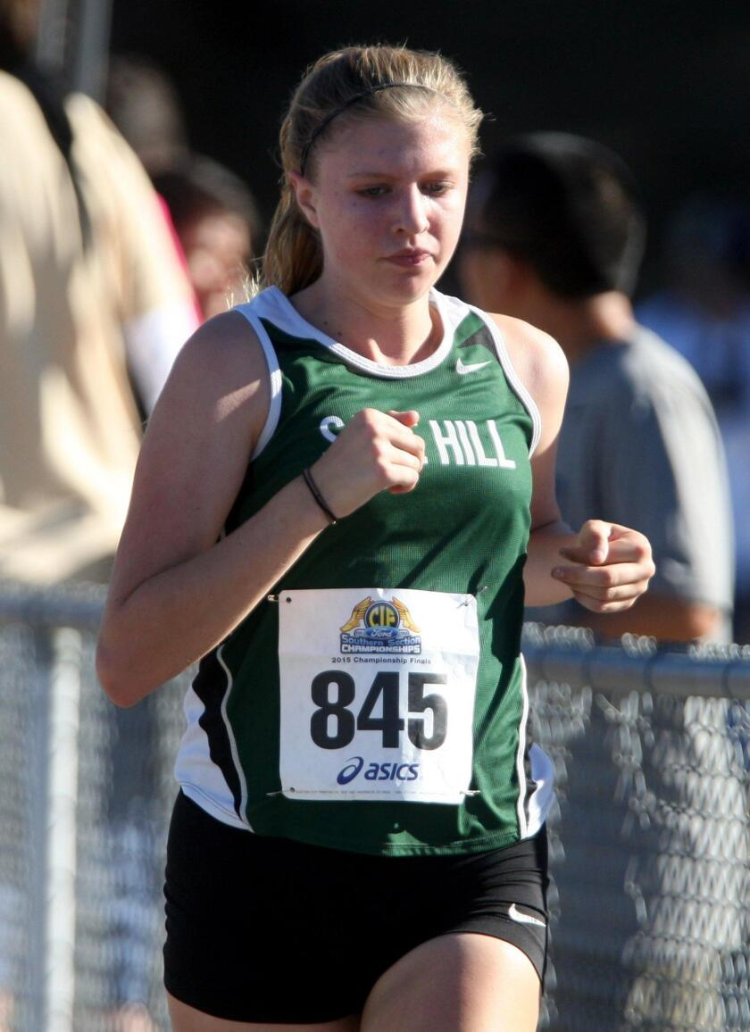 Sage Hill's Julia Lowe runs in the CIF Southern Section girls' Division 5 cross-country finals at Mt. San Antonio College.