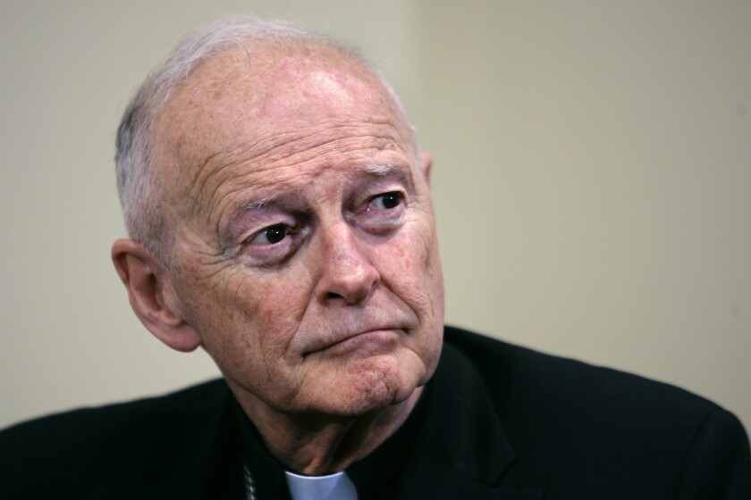 Former Washington Archbishop, Cardinal Theodore McCarrick, appears at a May 2006 news conference in Washington.