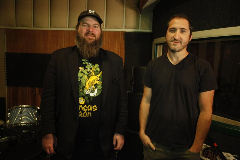 Pinback is Rob Crow (left) and Armistead Burwell Smith IV, Zach Smith to his friends. Since its inception in 1998, Pinback has earned widespread acclaim for creating thoughtful, carefully crafted music that is unrushed, free of fuss and at times infused with a sly wit. This is, after all, a group that named some of the songs on its 1998 debut album by throwing darts at a world map. David Brooks / U-T San Diego Mandatory Photo Credit; DAVID BROOKS / UTSANDIEGO Zuma Press copyright 2012