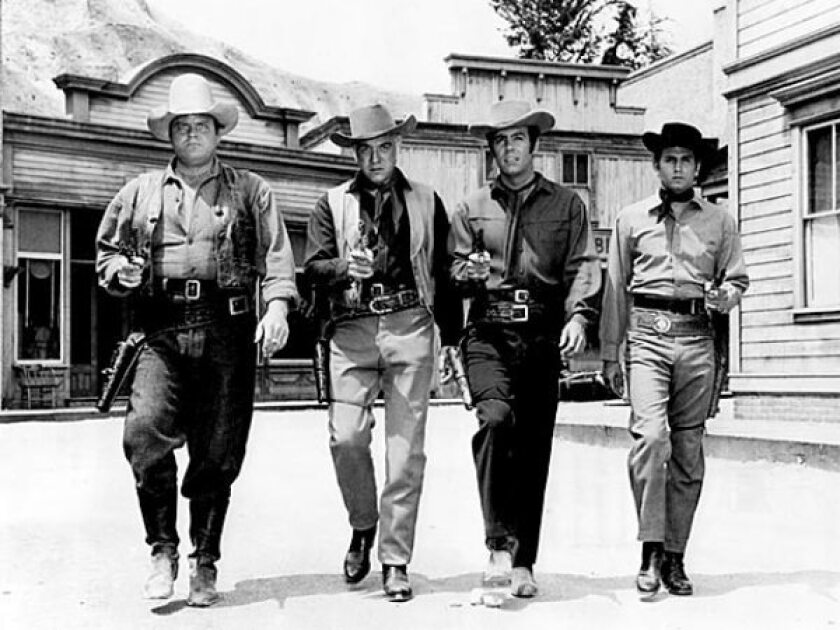 """Members of the Cartwright family on """"Bonanza"""" were played, from left, by Dan Blocker, Lorne Greene, Pernell Roberts and Michael Landon."""