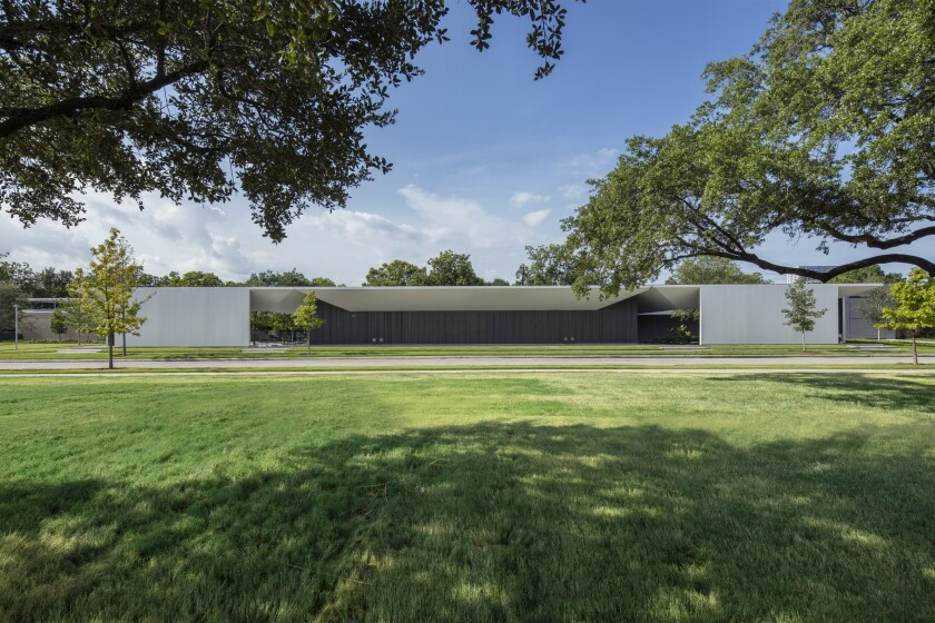 An exterior view of the Menil Drawing Institute by Johnston Marklee