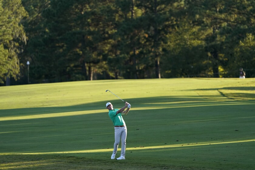 Brandt Snedeker hits his third shot on the 16th hole during the first round of the Houston Open golf tournament Thursday, Nov. 5, 2020, in Houston. (AP Photo/David J. Phillip)
