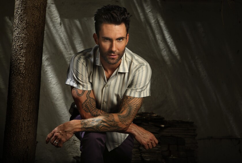 Adam Levine, lead singer for the band Maroon 5, at his home in Encino.