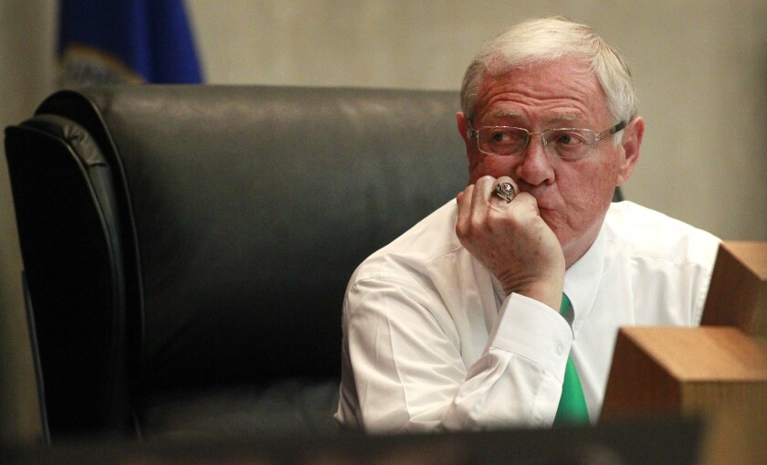 Los Angeles County Supervisor Mike Antonovich, pictured here in 2012, wants to merge the county's public health department and a separate mental health agency with the Department of Health Services.