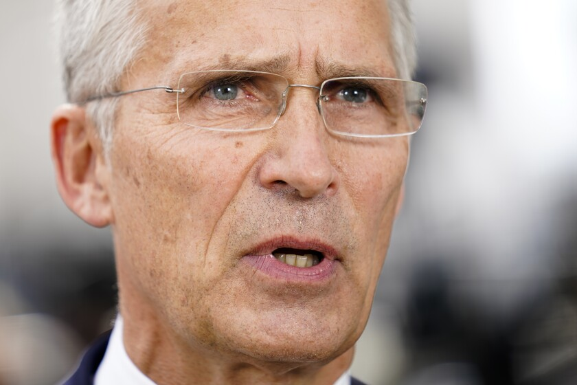 Jens Stoltenberg, NATO Secretary General, is interviewed outside the United Nations headquarters, Tuesday, Sept. 21, 2021, during the 76th Session of the U.N. General Assembly in New York. (AP Photo/John Minchillo, Pool)