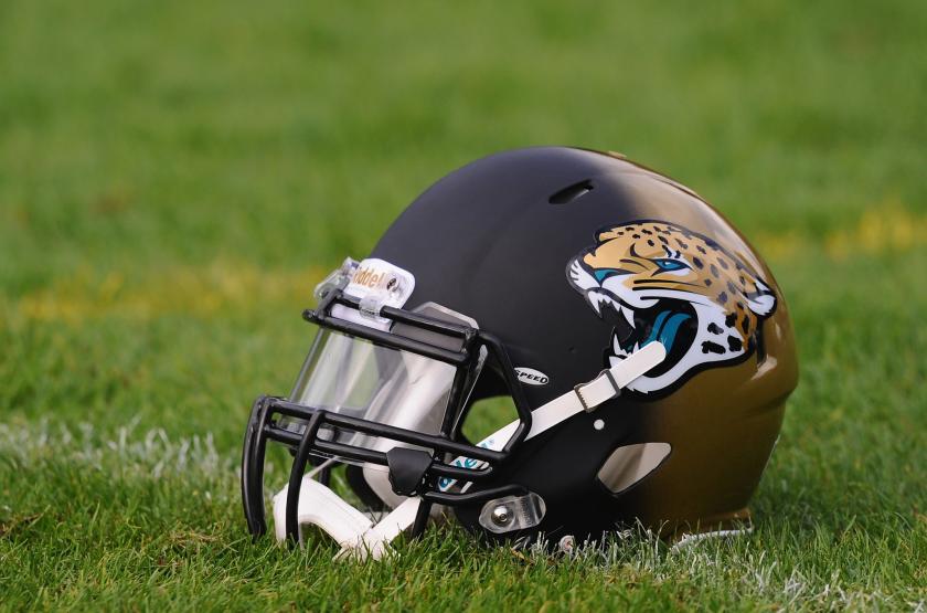 Jacksonville Jaguars helmet on the field.