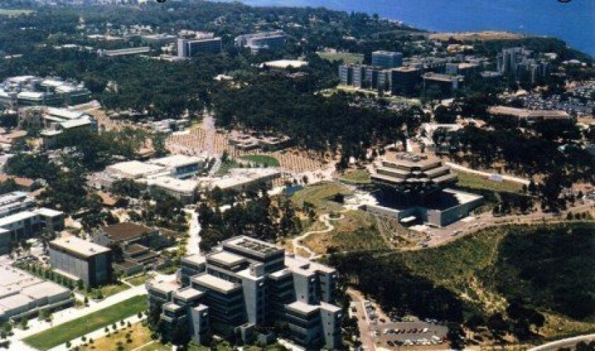 An aerial view of the UC San Diego campus