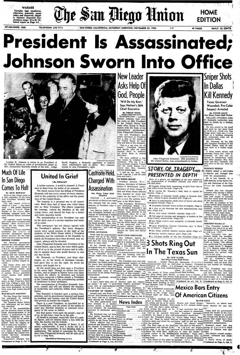 November 23, 1963 Kennedy assassination headline