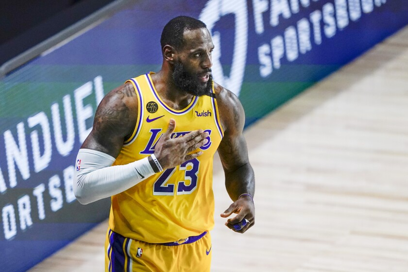 LeBron James reacts to a play during a game against the Portland Trail Blazers.