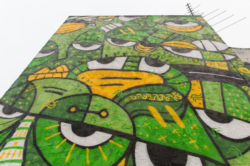 """Sandra Escobar created the mural in City Heights named """"6 Feet Apart"""""""