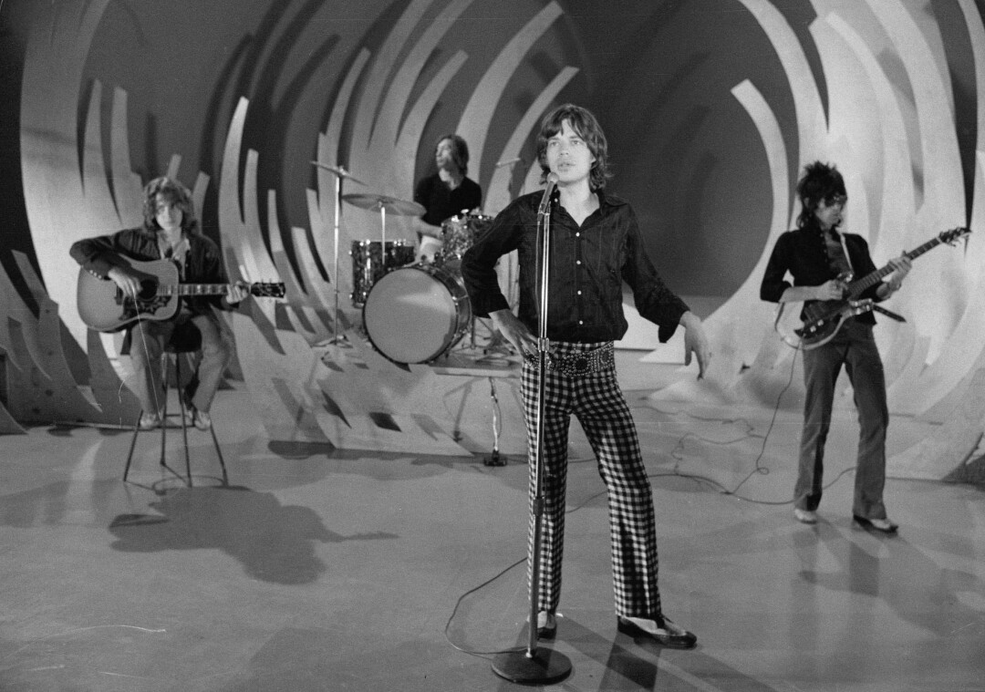 """The Rolling Stones rehearse onstage for an appearance on """"The Ed Sullivan Show"""" in 1969."""