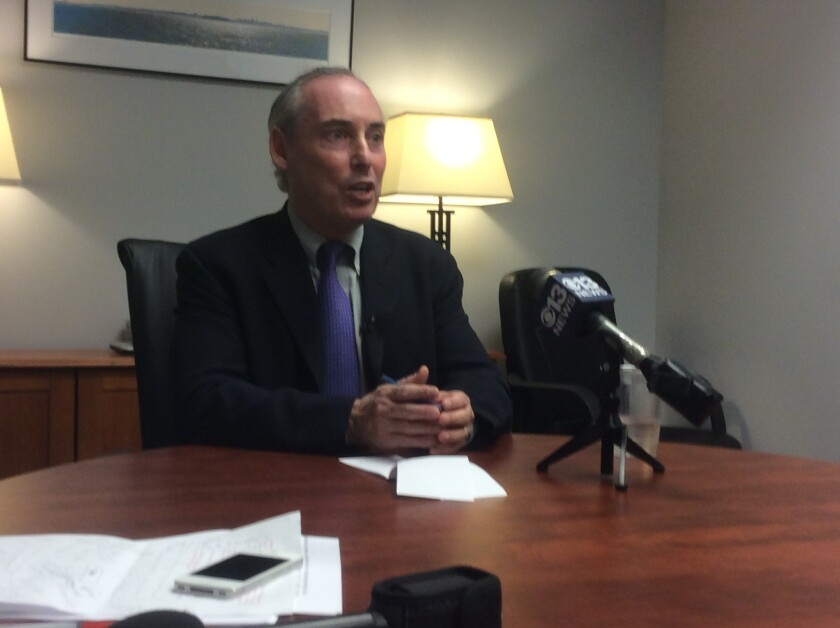 Dan Schnur, candidate for secretary of state, speaks to reporters Tuesday.