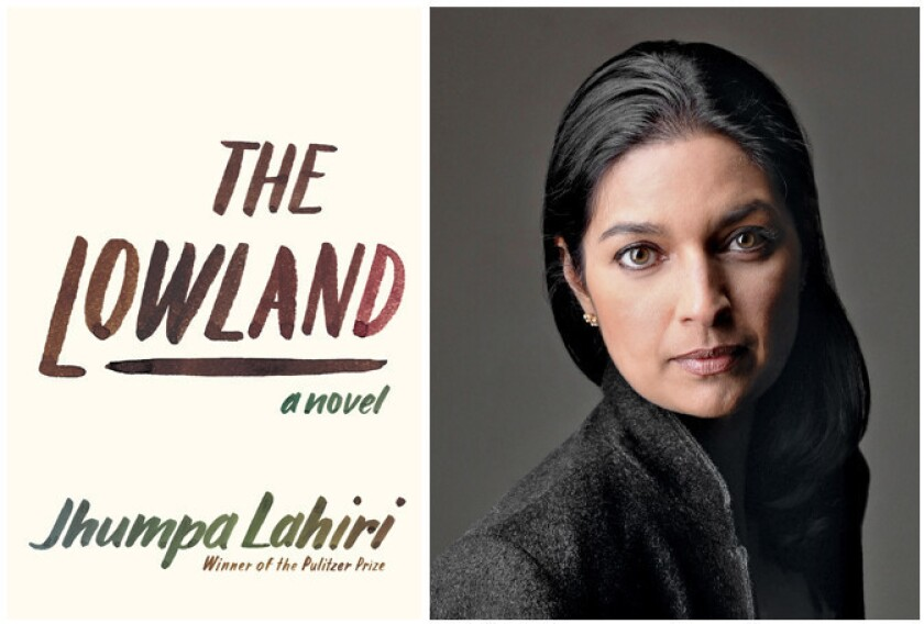 """Author Jhumpa Lahiri and the cover of her book, """"The Lowland."""""""
