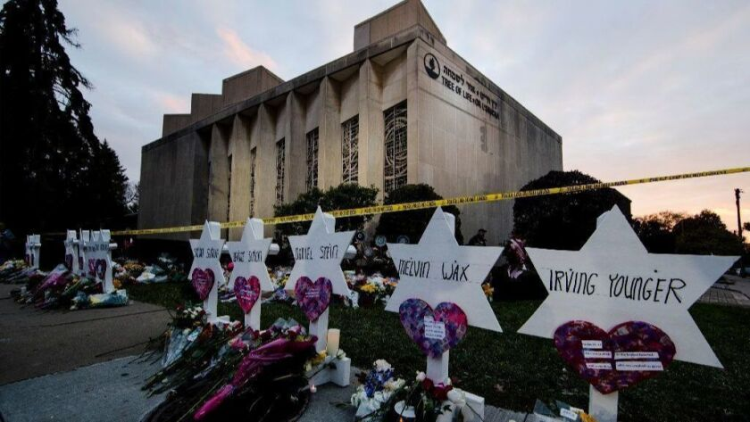 A makeshift memorial stands outside the Tree of Life synagogue in Pittsburgh on Monday.