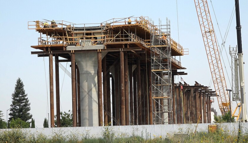 The Cedar Viaduct of California's high-speed rail project is under construction in Fresno.