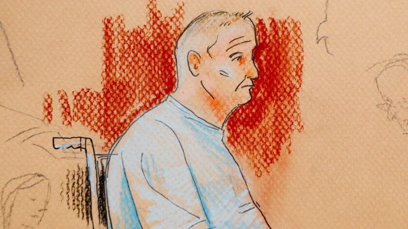 This courtroom sketch depicts Robert Gregory Bowers, who was wounded in a gun battle with police as