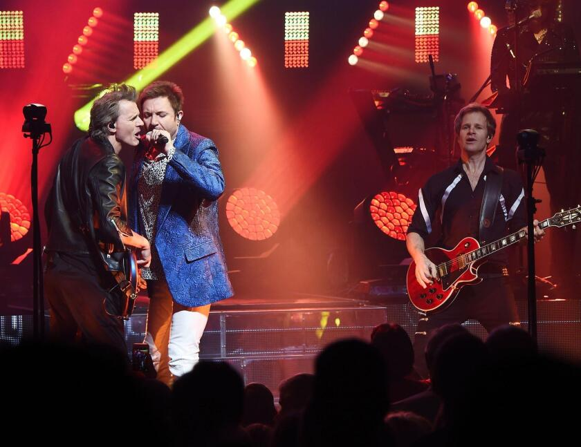 Duran Duran, pictured at the Apollo Theater in New York City, will perform Saturday at Irvine Meadows Amphitheatre.