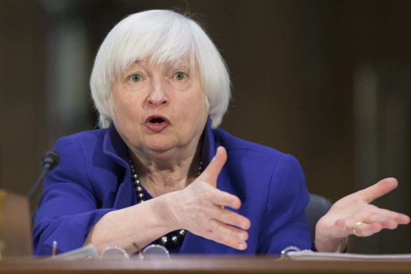 Federal Reserve Chairwoman Janet L. Yellen testifies before the Senate Banking Committee on Feb. 14.