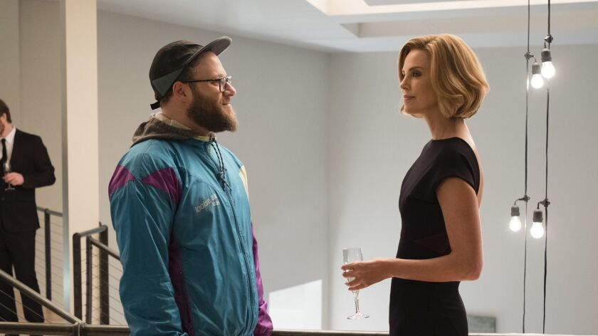 "Seth Rogen and Charlize Theron in ""Long Shot."""