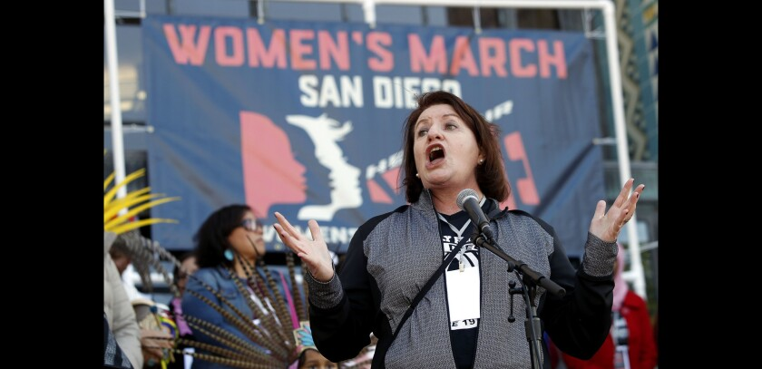 State Sen. Toni Atkins, who represents the 39th District, speaks to the crowd while in front of the County Administration Building, during the 2018 Women's March in San Diego.