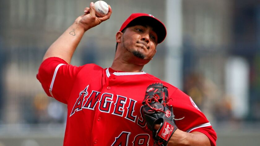 Los Angeles Angels starting pitcher Jhoulys Chacin delivers during the first inning of a baseball game against the Pittsburgh Pirates in Pittsburgh, Saturday, June 4, 2016. (AP Photo/Gene J. Puskar)