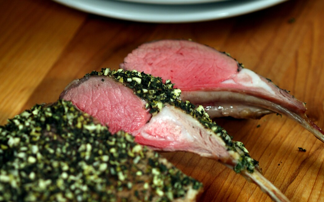 Rack of lamb with mint gremolata crust
