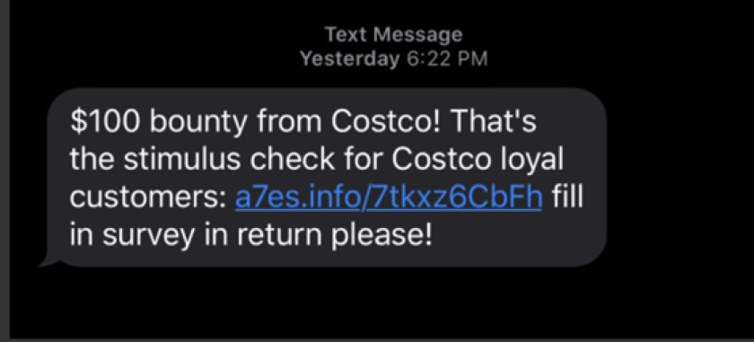 Text messages and social media posts like these are fraudulent, according to the FBI.
