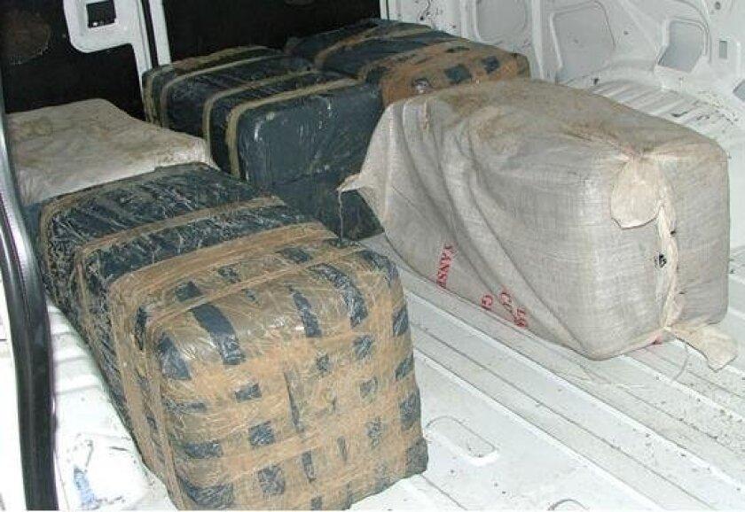 Bales of marijuana seized by authorities.