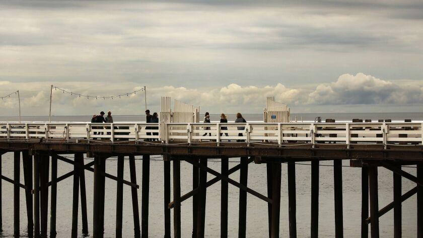 MALIBU, CA - MAY 10, 2019 - Pedestrians on the Malibu Pier Friday May 10, 2019 as Southern Californi